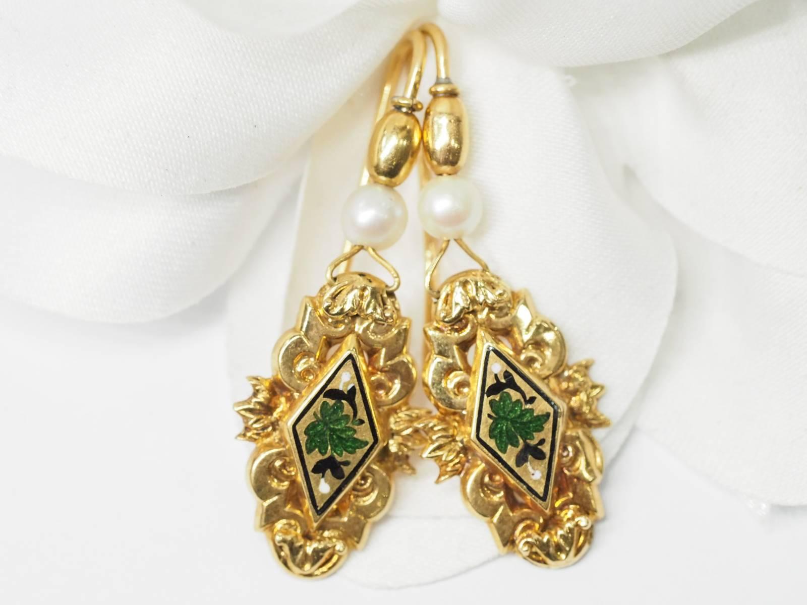authentique style de mode de gros Boucles d'oreilles anciennes en or 14 kt et perles de ...